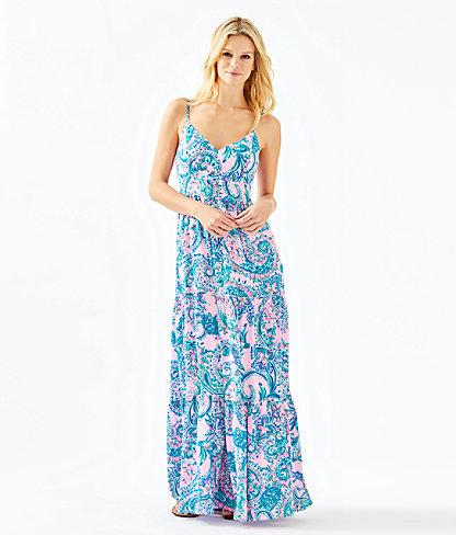 Melody Maxi Dress, Pink Tropics Tint Tangerine Dream, large 0