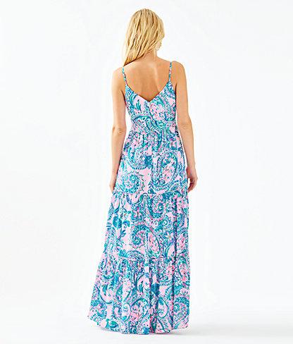 Melody Maxi Dress, Pink Tropics Tint Tangerine Dream, large 1