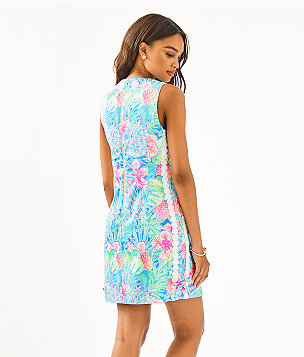 Mila Stretch Shift Dress, Multi Swizzle In, large