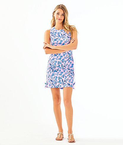 Mila Stretch Shift Dress, Zanzibar Blue Ruff Night, large 3