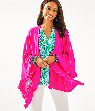 Rosaria Ruffle Sweater Wrap, Acai Berry, large