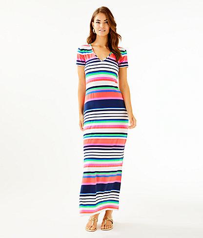 Milana Maxi Dress, Multi Sunshine Stripe, large 0