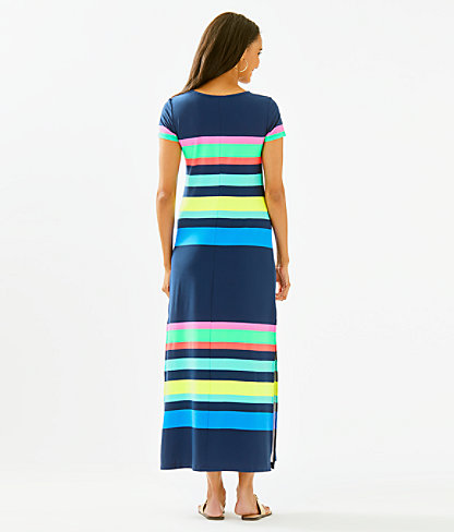 Tae Maxi Dress, Multi Gecko Stripe, large 1