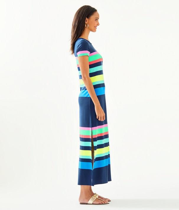 Tae Maxi Dress, Multi Gecko Stripe, large