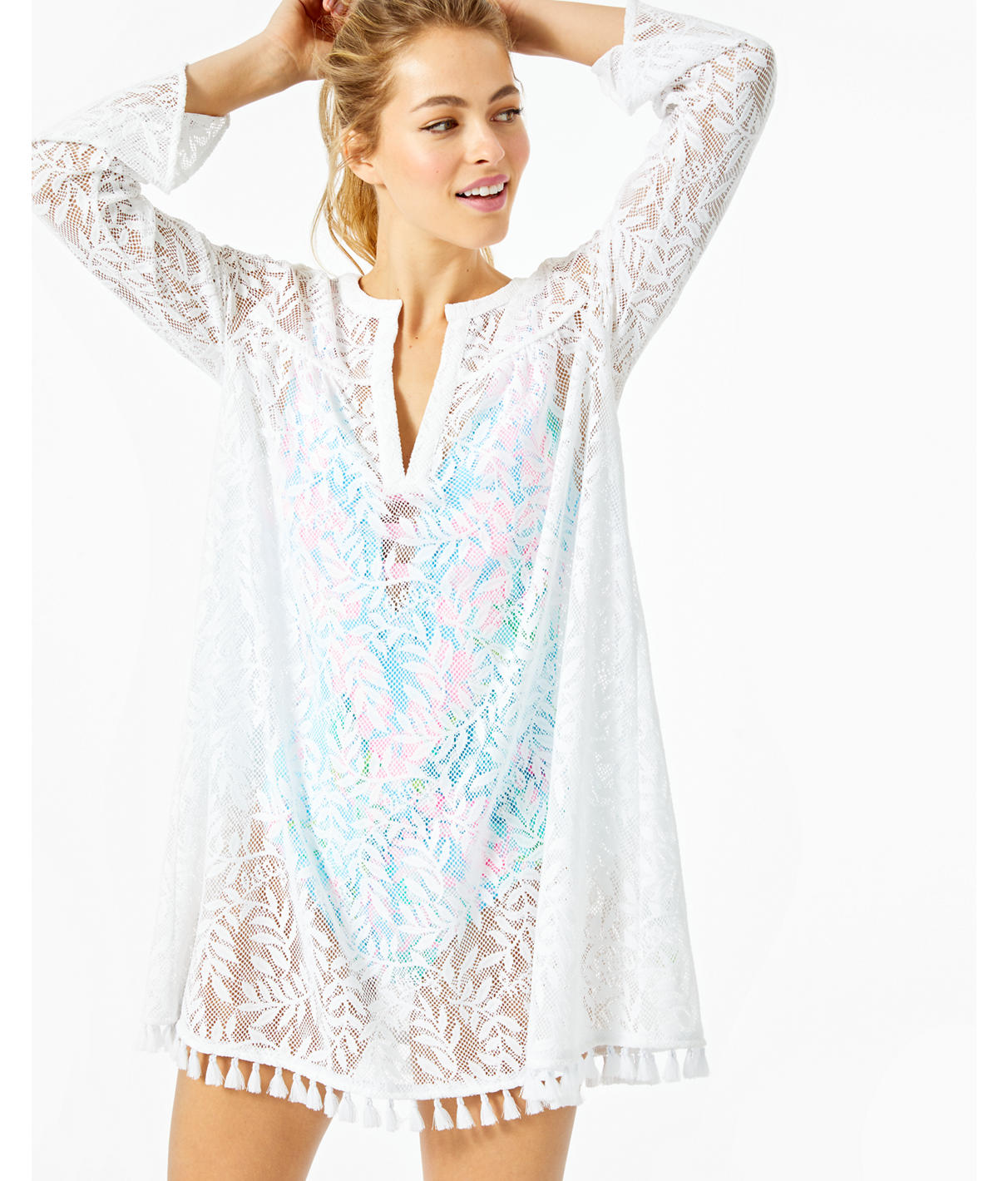 Lilly Pulitzer Kizzy Cover-up In Resort White Swirling Leaf Lilly Lace