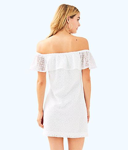La Fortuna Off-The-Shoulder Dress, Resort White Gypsea Lace, large 1