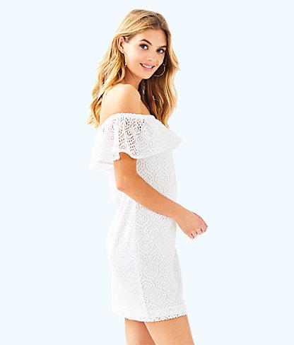 La Fortuna Off-The-Shoulder Dress, Resort White Gypsea Lace, large 2