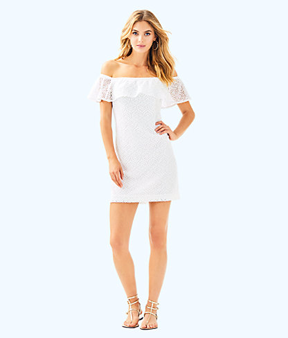 La Fortuna Off-The-Shoulder Dress, Resort White Gypsea Lace, large 3