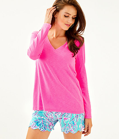 Etta Long Sleeve Top, Prosecco Pink, large 0