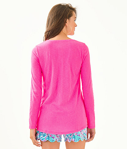 Etta Long Sleeve Top, Prosecco Pink, large 1