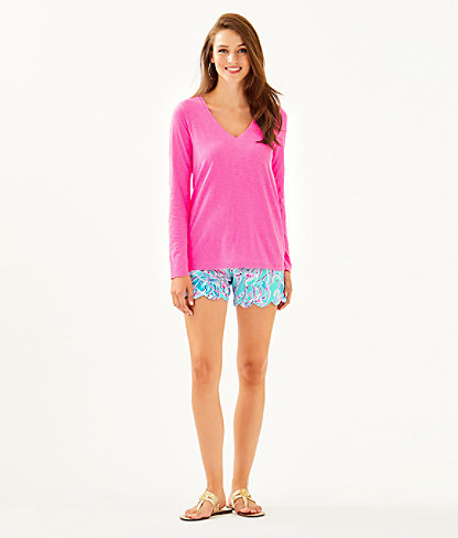 Etta Long Sleeve Top, Prosecco Pink, large 2