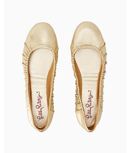 Kristi Ballet Flat, Gold Metallic, large 1