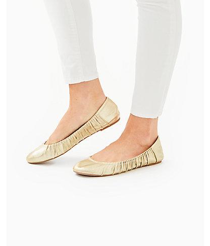 Kristi Ballet Flat, Gold Metallic, large 3