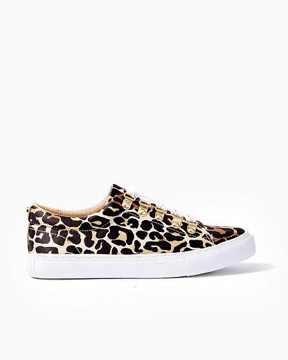 Lilly Pulitzer Hallie Leopard Print Sneaker In Onyx My Favorite Spot