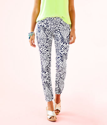 """29"""" Kelly Ankle Length Skinny Pant, Bright Navy Pineapple Party, large"""