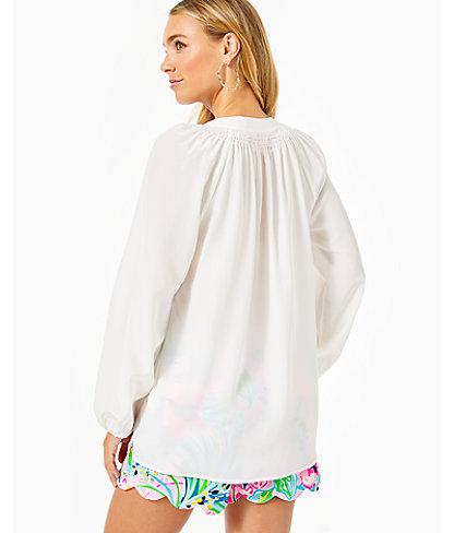 Elsa Silk Top, Resort White, large 1