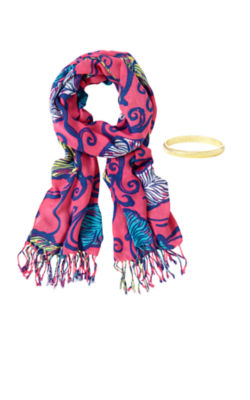 Lilly Scarf & Bangle Set - Leaves In The Breeze, Tropical Pink Leaves In The Breeze Scarf, large