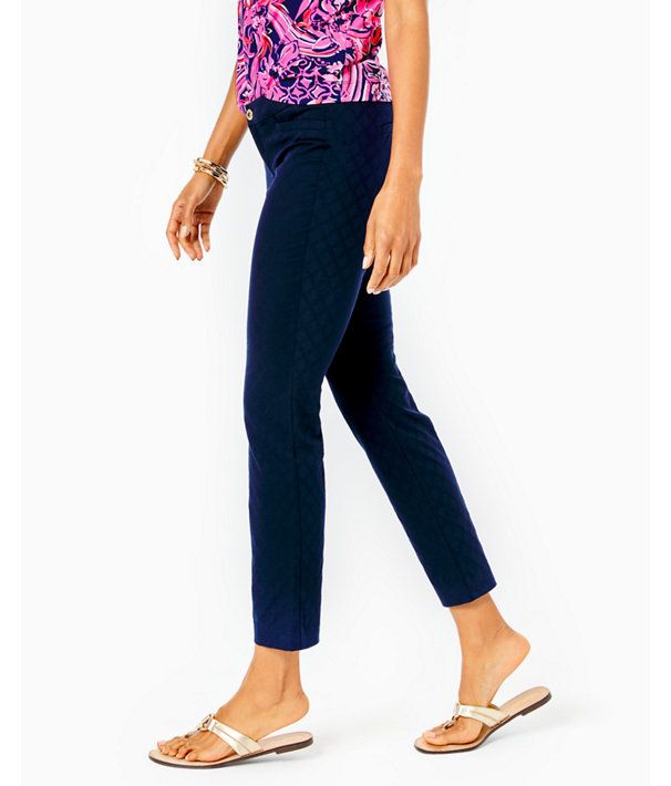 "29"" Kelly Textured Ankle Length Skinny Pant, Midnight Navy, large"