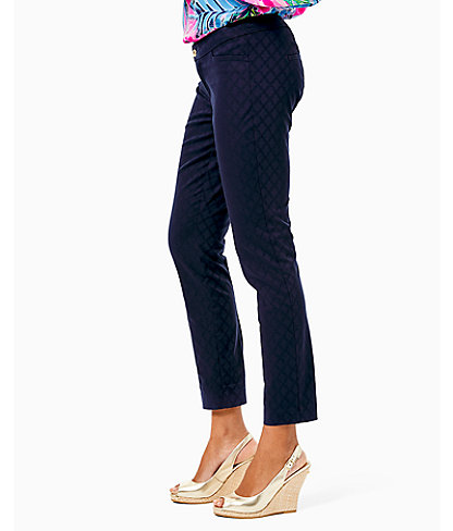 "29"" Kelly Textured Ankle Length Skinny Pant, Midnight Navy, large 2"
