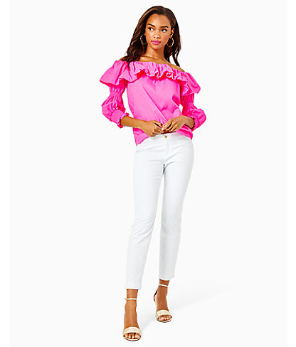 """29"""" Kelly Textured Ankle Length Skinny Pant, Resort White, large 0"""