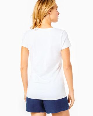 Michele V-Neck Top, Resort White, large 1