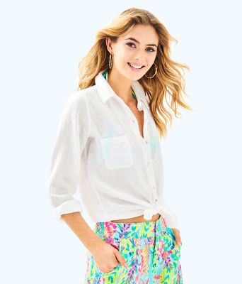 Sea View Button Down Top, Resort White, large 0