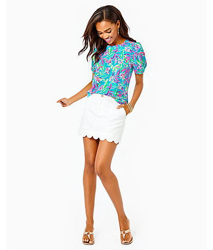 Colette Scallop Hem Skort, Resort White, large 3