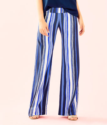 "33"" Bal Harbour Palazzo Pant, Bright Navy Jungley Stripe Vertical, large"