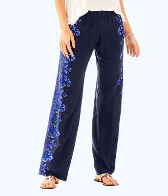 """33"""" Bal Harbour Palazzo Pant, Bright Navy Twice As Nice Engineered Pants, large"""