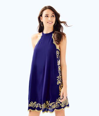 Quinn Dress, True Navy Gypset Swirl Dress, large