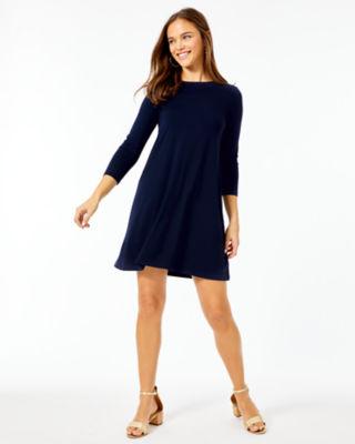 Ophelia Swing Dress, Midnight Navy, large 3