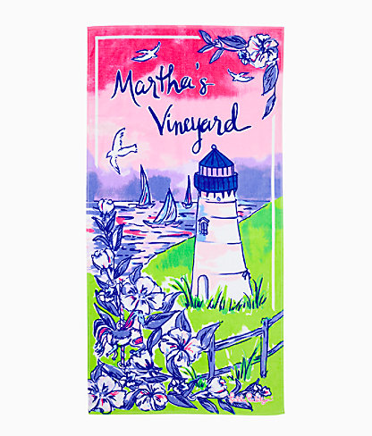 Destination Beach Towel, Multi Destination Marthas Vineyard Towel, large 0