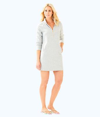 Skipper Solid Popover Dress, Heathered Seaside Grey, large 3