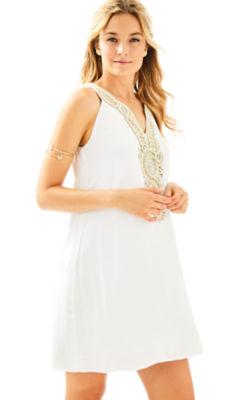 Valli Soft Shift Dress, Resort White, large