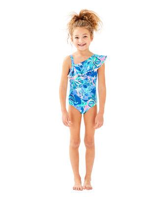 UPF 50+ Girls Joni Swimsuit, Bennet Blue Celestial Seas, large