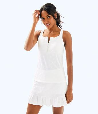 UPF 50+ Luxletic Kalila Tennis Bra Tank, Resort White Perfect Match Jacquard, large