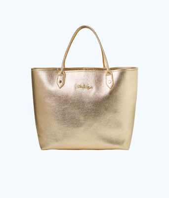 Leather La La Tote, Gold Metallic, large 0