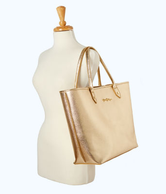 Leather La La Tote, Gold Metallic, large 2