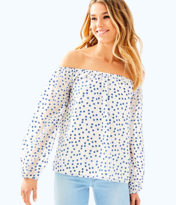 Lou Lou Top, Bennet Blue Polka Dot, large