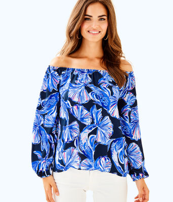 Lou Lou Off The Shoulder Top, Bright Navy In Reel Life, large