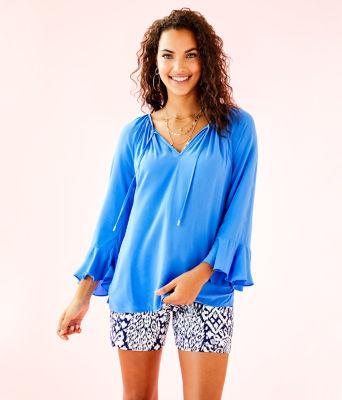 Willa Flounce Sleeve Top, Bennet Blue, large