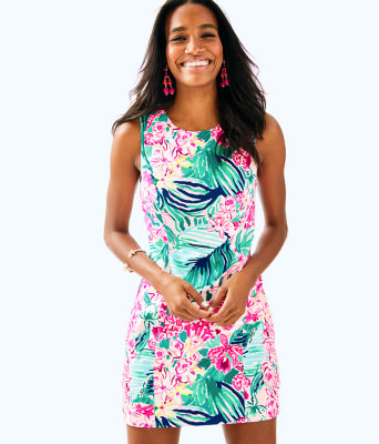 Mila Stretch Shift Dress, Multi Via Flora, large