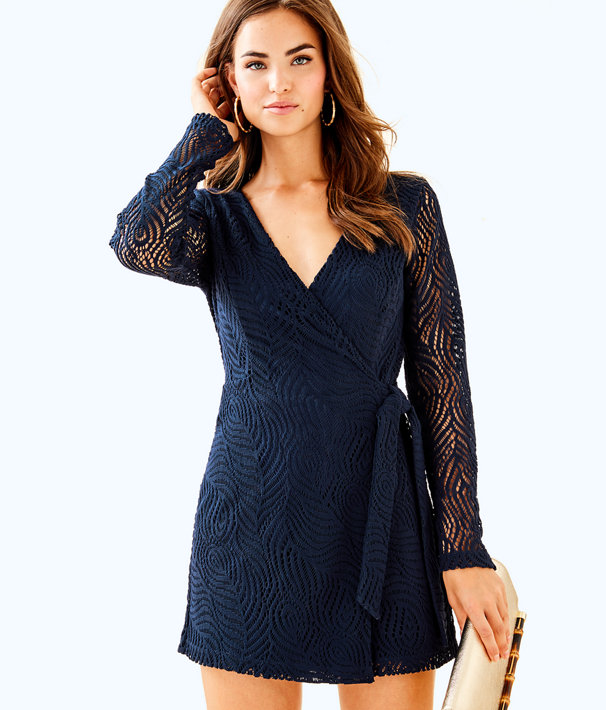 4bb844482e2f68 Tiki Wrap Romper, True Navy Feather Bloom Lace, large