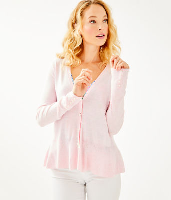 Clarissa Cardigan, Heathered Paradise Pink, large