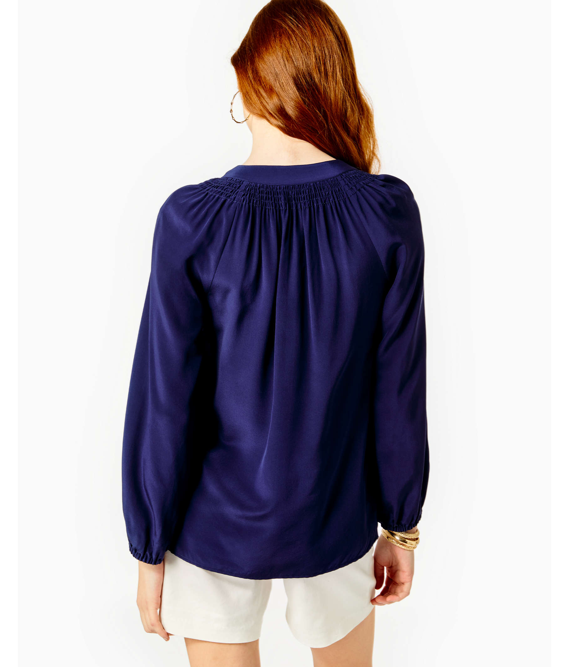 Navy Silk Blouse With Bow Coolmine Community School