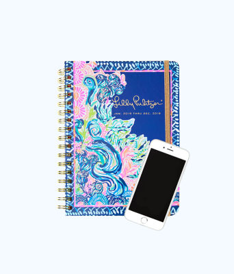 2019 12 Month Large Monthly Agenda, Deep Indigo Seaglass Menagerie Planner, large 1