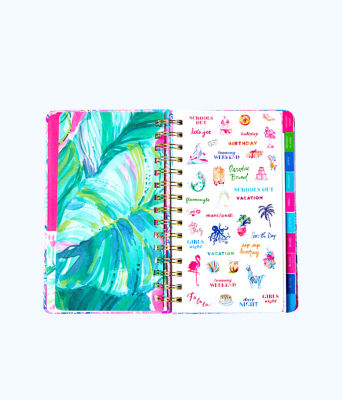 2019 12 Month Large Monthly Agenda, Deep Indigo Seaglass Menagerie Planner, large 2