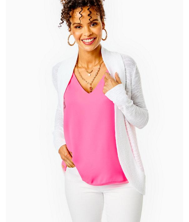 Amalie Open-Front Cardigan, Resort White, large
