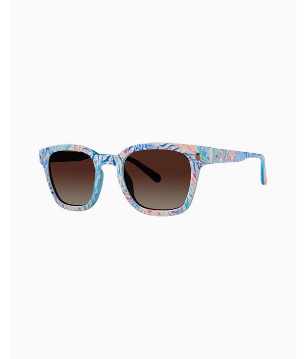 Josie Sunglasses, Crew Blue Tint Kaleidoscope Coral, large