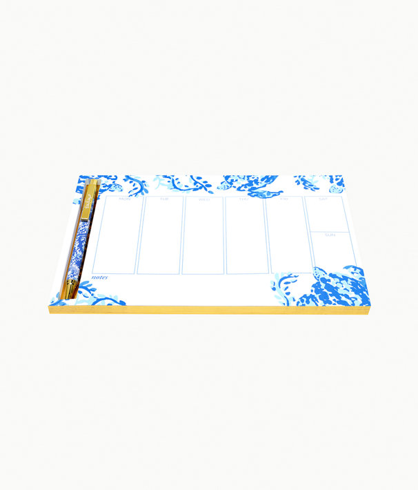 Weekly Desk Pad And Pen, Blue Peri Turtley Awesome, large
